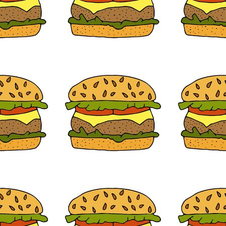 Hamburger, cheeseburger. Seamless pattern. hand drawn vector illustration. doodles or cartoon style.