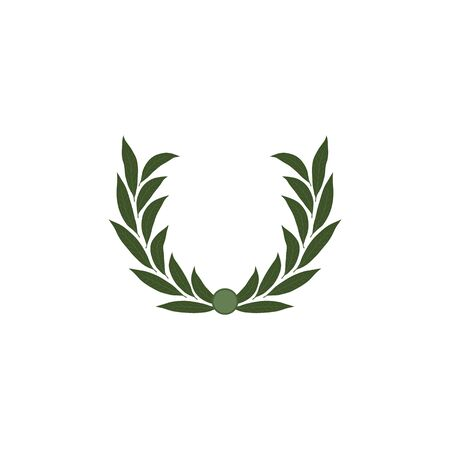 Green laurel wreath. The wreath of the winner. Vector illustration isolated on a white background.