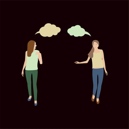 Two girls go and talk. Young women in summer clothes chatting. Conversation of two people walking. People talk. Isolated vector illustration in flat style. Ilustração