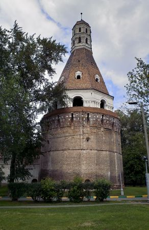 disposed: Old monastery circular tower disposed in Moscow