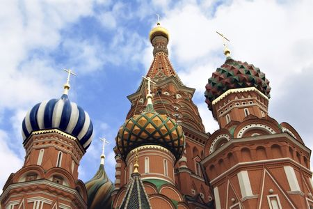 disposed: St. Basil cathedral disposed on Red square, Moscow, Russia