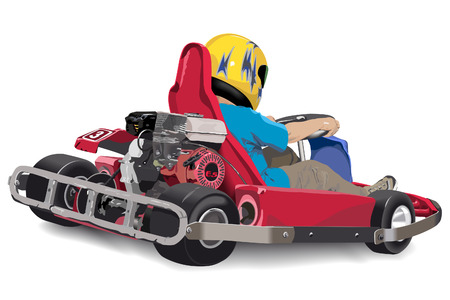 carting: Little boy is riding red kart
