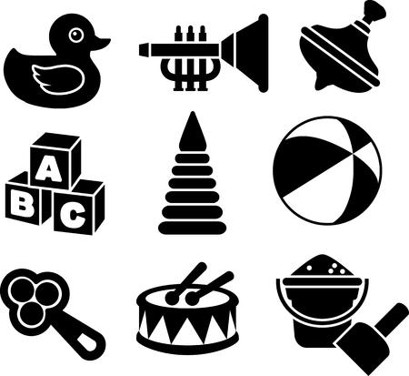 duck cartoon: Ilustraci�n de los nueve tipos diferentes de juguetes en el fondo blanco. Ilustraci�n vectorial
