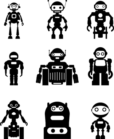tin robot: Abstract robots set isolated on white background. Vector illustration