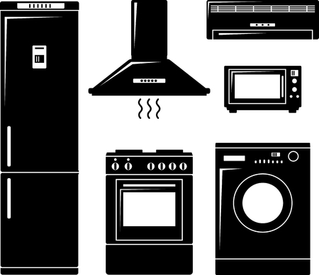 Household electronic elements in monochrome flat style Vector