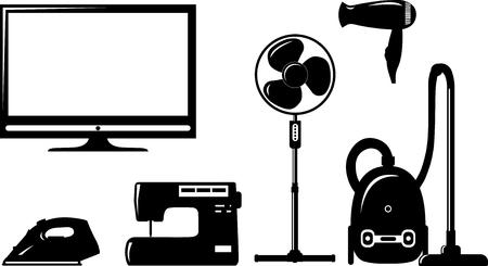 electronic elements: Elementi elettronici per la casa in stile piatto silhouette