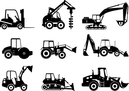 Silhouet illustratie van zwaar materieel en machines Stock Illustratie