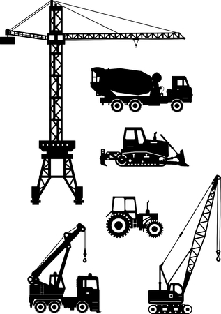 scraper: Silhouette illustration of heavy equipment and machinery