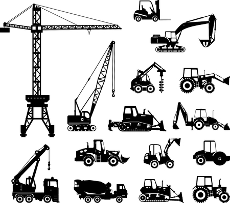 maquinaria pesada: Ilustración de la silueta de equipo pesado y maquinaria