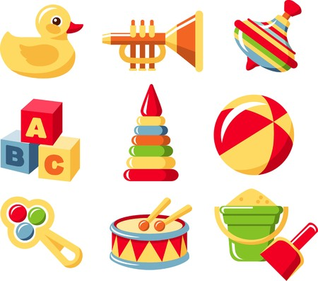 Illustration of the nine different kind of toys on white background. Vector illustration