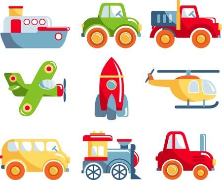 Different kind of toys transportation on white background. Vector illustration