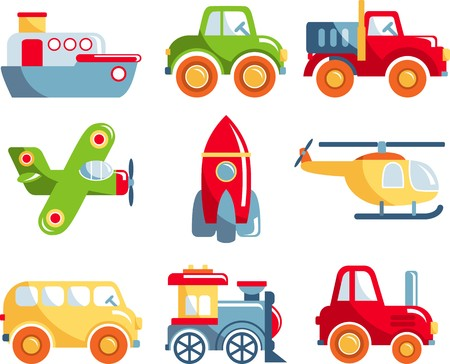 Different kind of toys transportation on white background. Vector illustration