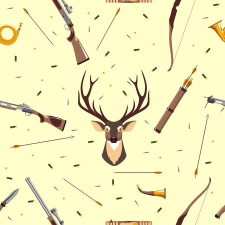 Seamless background with deer head, hunting equipment and weapon Vector