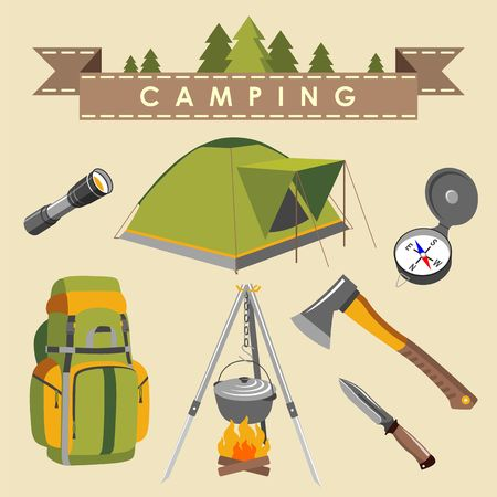 camping equipment: Set of camping equipment and objects in flat style
