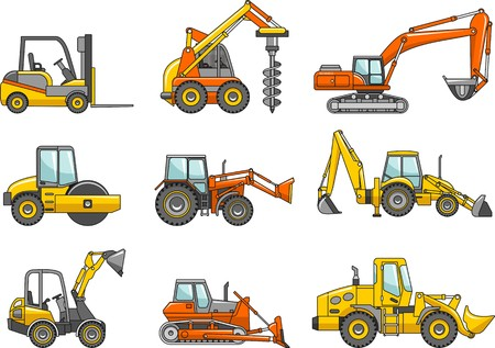 Detailed illustration of heavy equipment and machinery Stock Illustratie