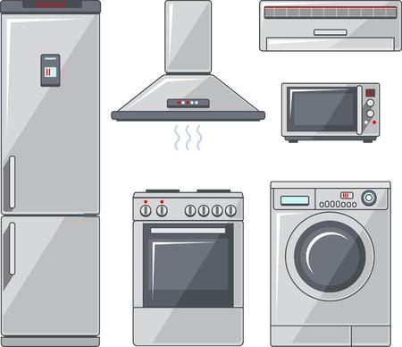 electronic elements: Illustrazione vettoriale di elementi elettronici per la casa in stile piatto Vettoriali