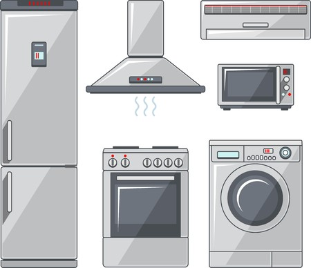 Vector illustration of household electronic elements in flat style Vector