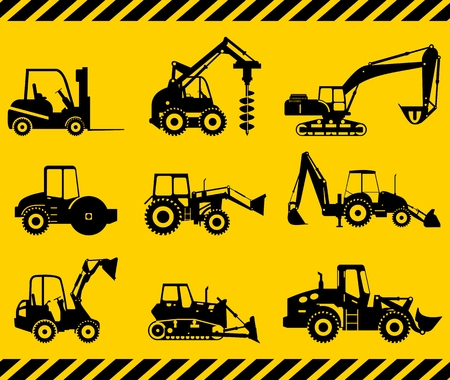 Silhouette illustration d'équipements lourds et de machines Vecteurs