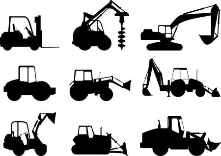 重い装置および機械のシルエット イラスト