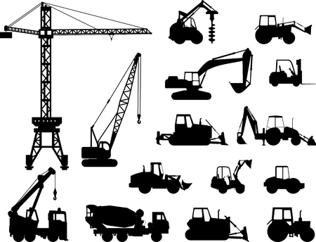 equipments: Silhouette illustration of heavy equipment and machinery