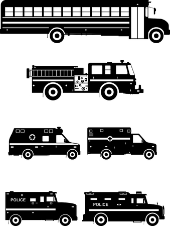 ambulance car: Silhouette illustration of special machines on white background