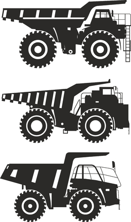 mining: Detailed illustration of mining trucks, heavy equipment and machinery