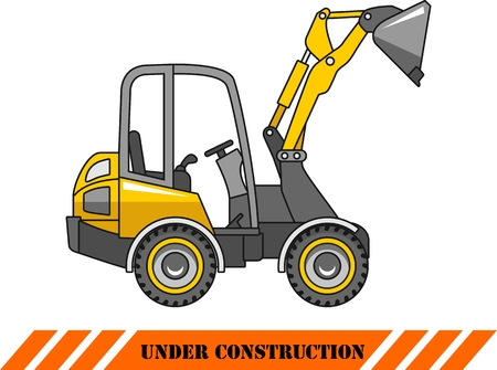 Detailed illustration of skid steer loader, heavy equipment and machinery Vector