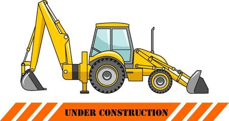 backhoe loader: Detailed illustration of backhoe loader, heavy equipment and machinery