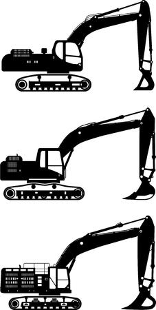 Illustration détaillée de pelles, équipement lourd et des machines Vecteurs