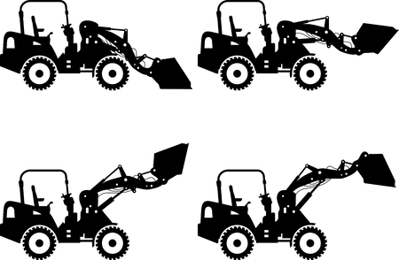 skid: Detailed illustration of skid steer loaders, heavy equipment and machinery Illustration
