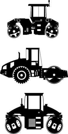 Detailed illustration of compactors, heavy equipment and machinery