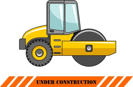 asphalt paving: Detailed illustration of compactor, heavy equipment and machinery Illustration