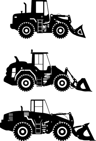 heavy: Detailed illustration of wheel loaders, heavy equipment and machinery