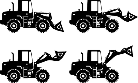 Detailed illustration of wheel loaders, heavy equipment and machinery
