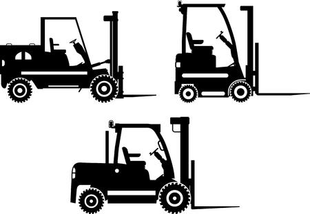フォーク リフト、重い装置、機械の詳細なイラスト