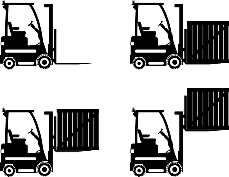 forklift: Detailed illustration of forklifts, heavy equipment and machinery