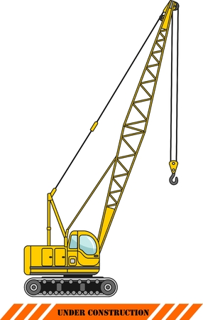 windlass: Detailed illustration of crane, heavy equipment and machinery Illustration