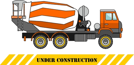 Detailed illustration of concrete mixer, heavy equipment and machinery Vector