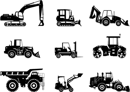 heavy equipment: Silhouette illustration of heavy equipment and machinery