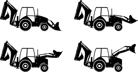 Detailed illustration of backhoe loaders, heavy equipment and machinery Stock Illustratie