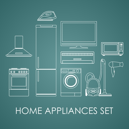 hoover: Home appliances in flat contour style on dark background