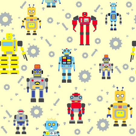 kinds: Colorful pattern with various kinds of detailed robots