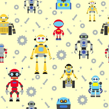 Colorful pattern with various kinds of detailed robots Vector