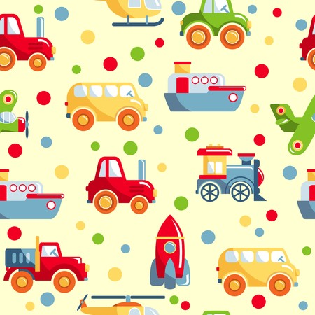 avion caricatura: Patr�n de colores con diferentes tipos de transporte juguetes