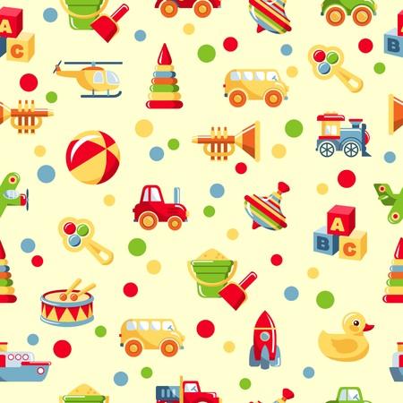 Motif coloré avec différents types de jouets Banque d'images - 37151660