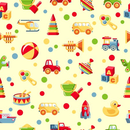 Colorful pattern with different kind of toys