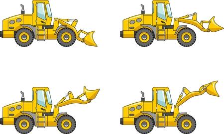 ホイール ・ ローダ、重い装置、機械の詳細なイラスト