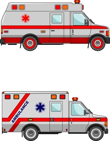 ambulancia: Dos variantes de la ambulancia en un estilo plano