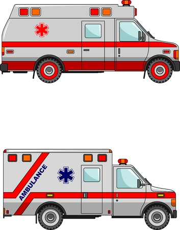 Two variants of the ambulance in a flat style