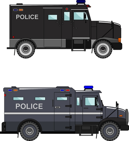 Two variants of the police car in a flat style Vector